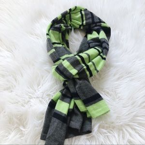 Theory Cashmere Striped Scarf Lime, Navy and Gray